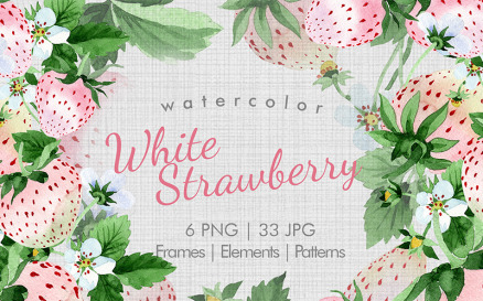 White Strawberry PNG Watercolor Fruit Set Illustration