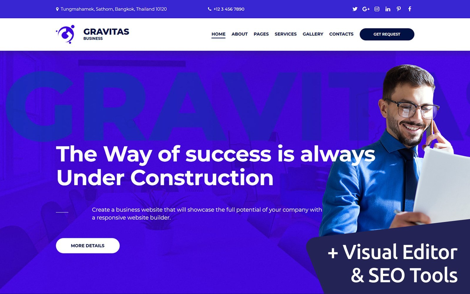 """Gravitas Multipurpose Business"" Responsive Moto CMS 3 Template №72222"