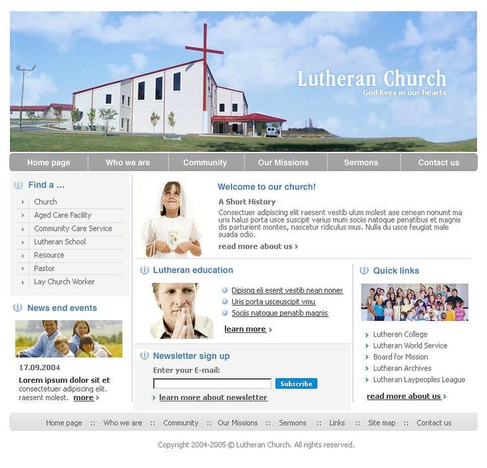 Tema siti web per un sito di luteranesimo for Siti web di home plan