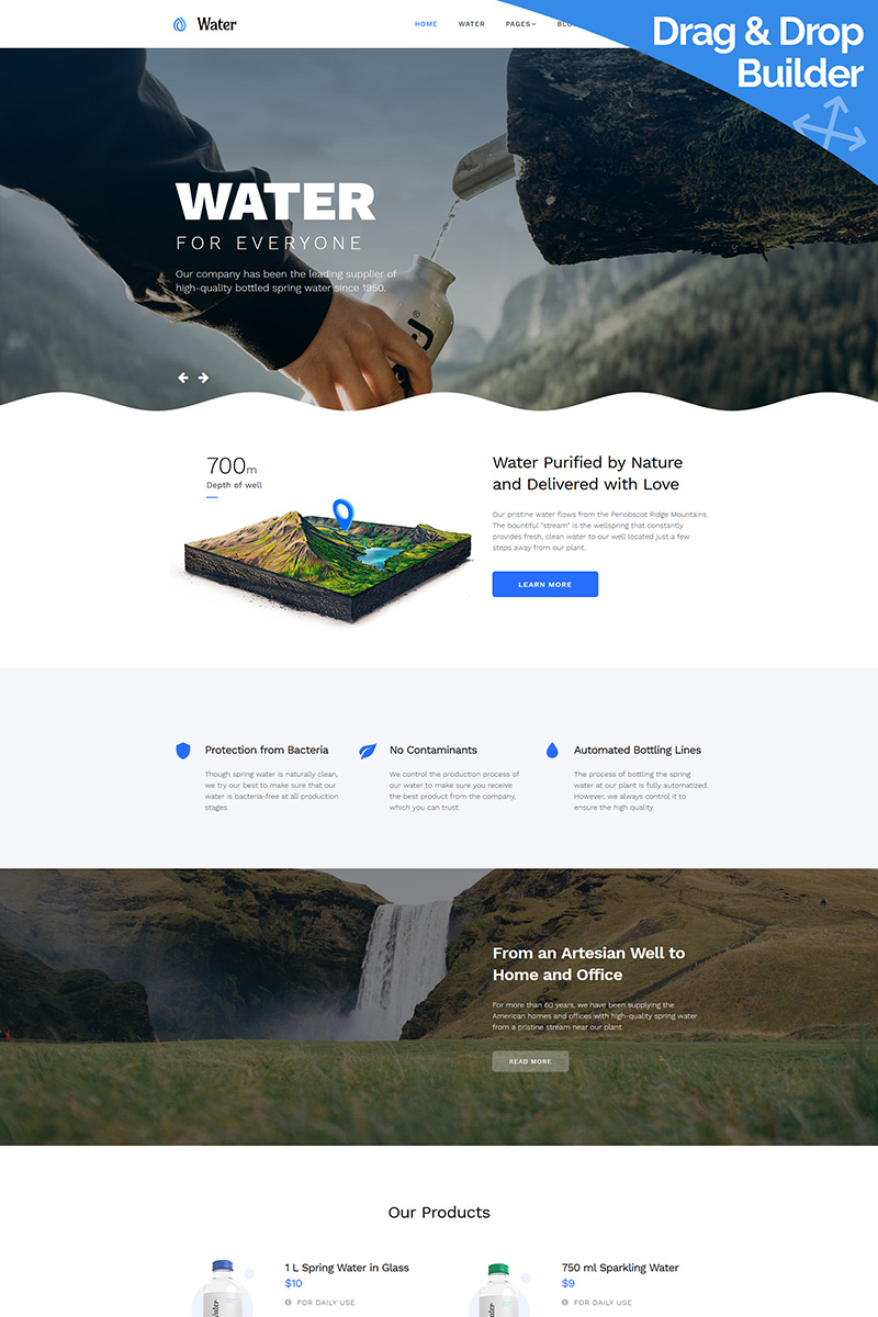 """""""Water"""" Responsive Moto CMS 3 Template №73131"""