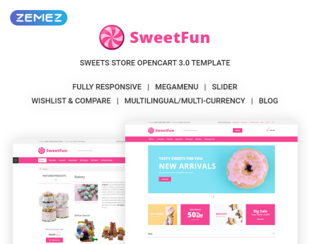 SweetFun - Minimalistic Sweets Online Store OpenCart Template