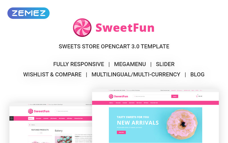 SweetFun - Minimalistic Sweets Online Store OpenCart Template