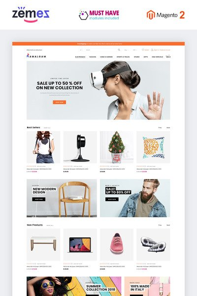 Amalgam - Wholesale Light Minimal eCommerce Ready-to-Use Magento Theme #73230
