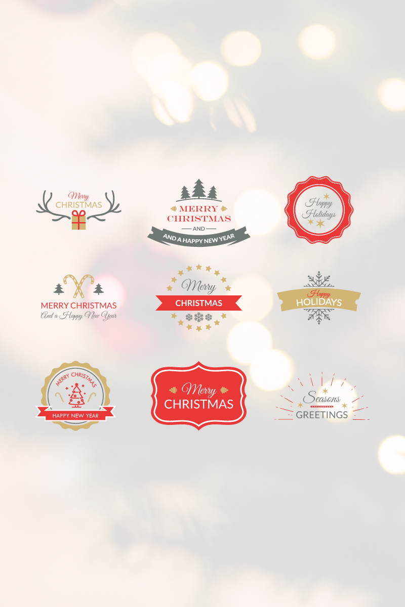 Christmas Badges Pack Illustration