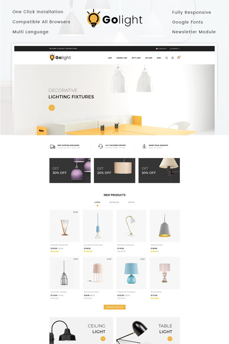 GoLight - Fancy Light Store OpenCart Template