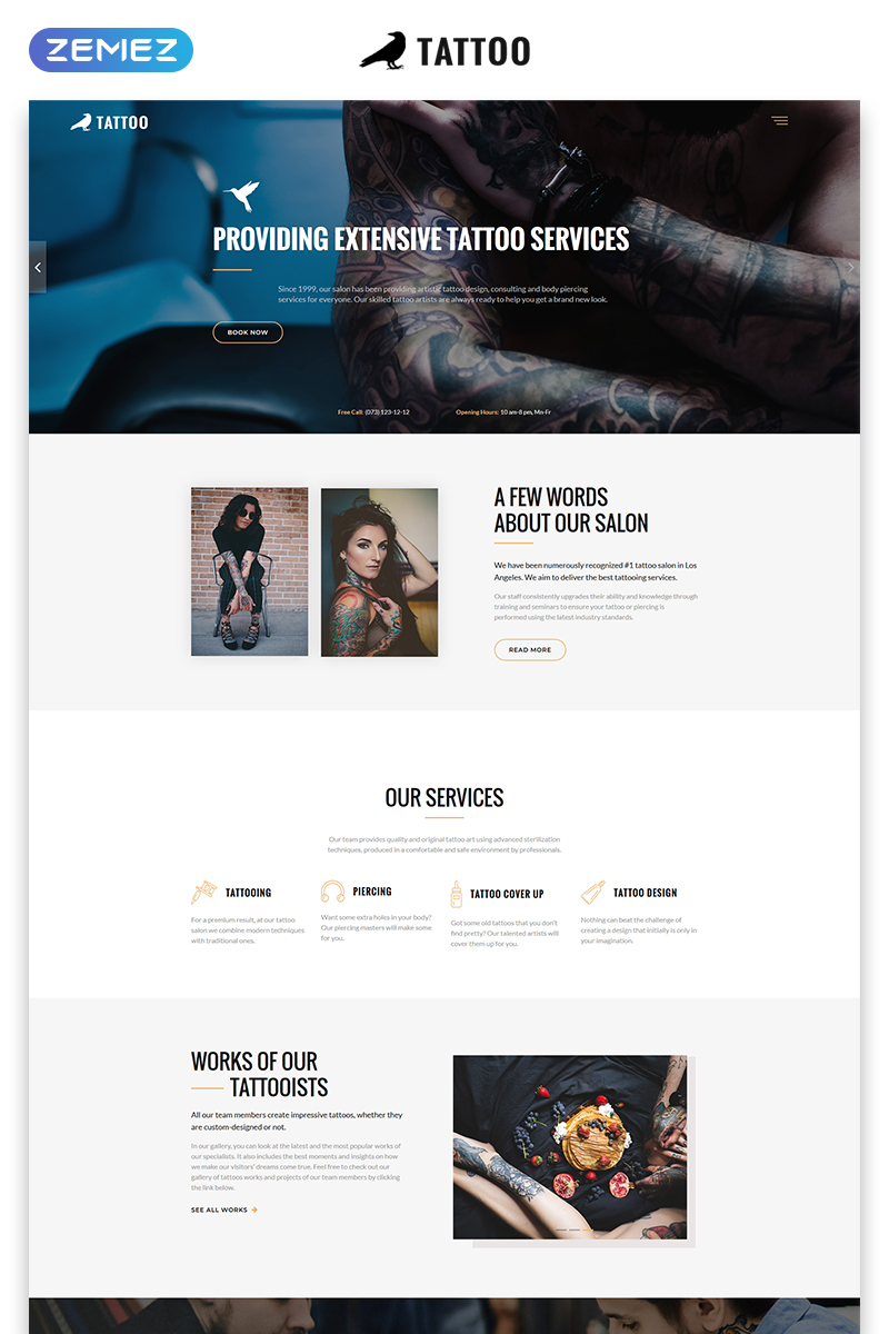 "Landing Page Template namens ""Tattoo - Beauty Salon HTML5"" #73270"