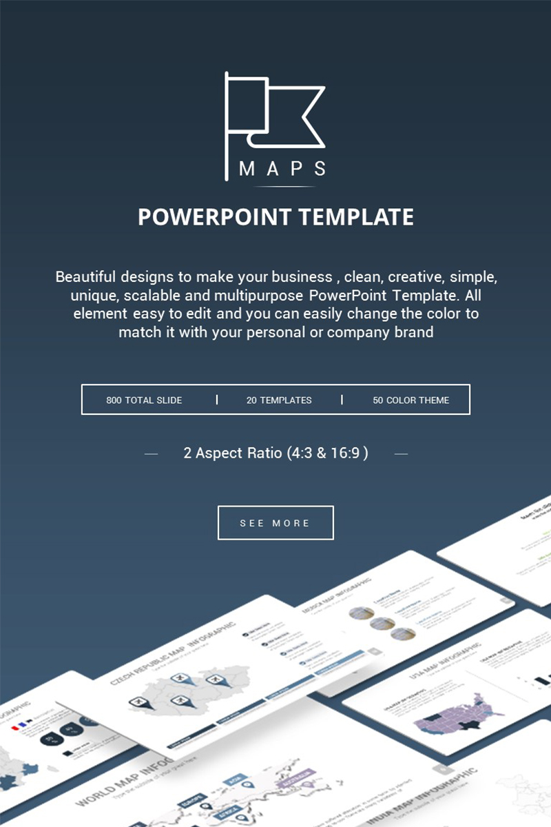 """Maps Presentation"" PowerPoint Template №73219"