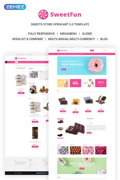 Адаптивный OpenCart шаблон №73213 на тему магазин сладостей