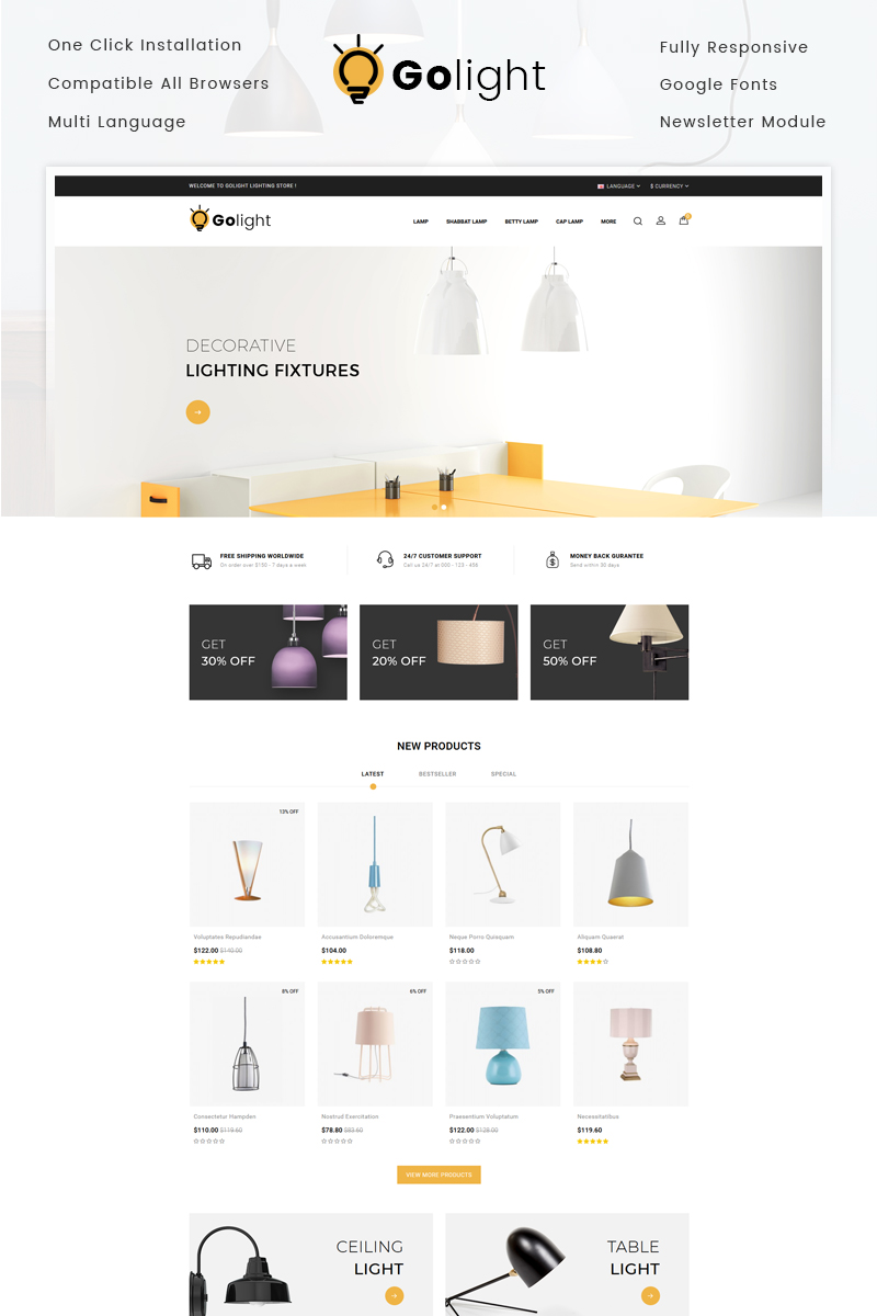 "OpenCart Vorlage namens ""GoLight - Fancy Light Store"" #73285"