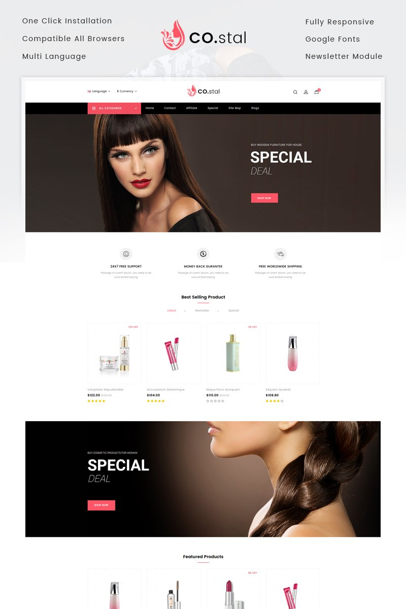 Responsive Costal - Beauty Store Opencart #73234
