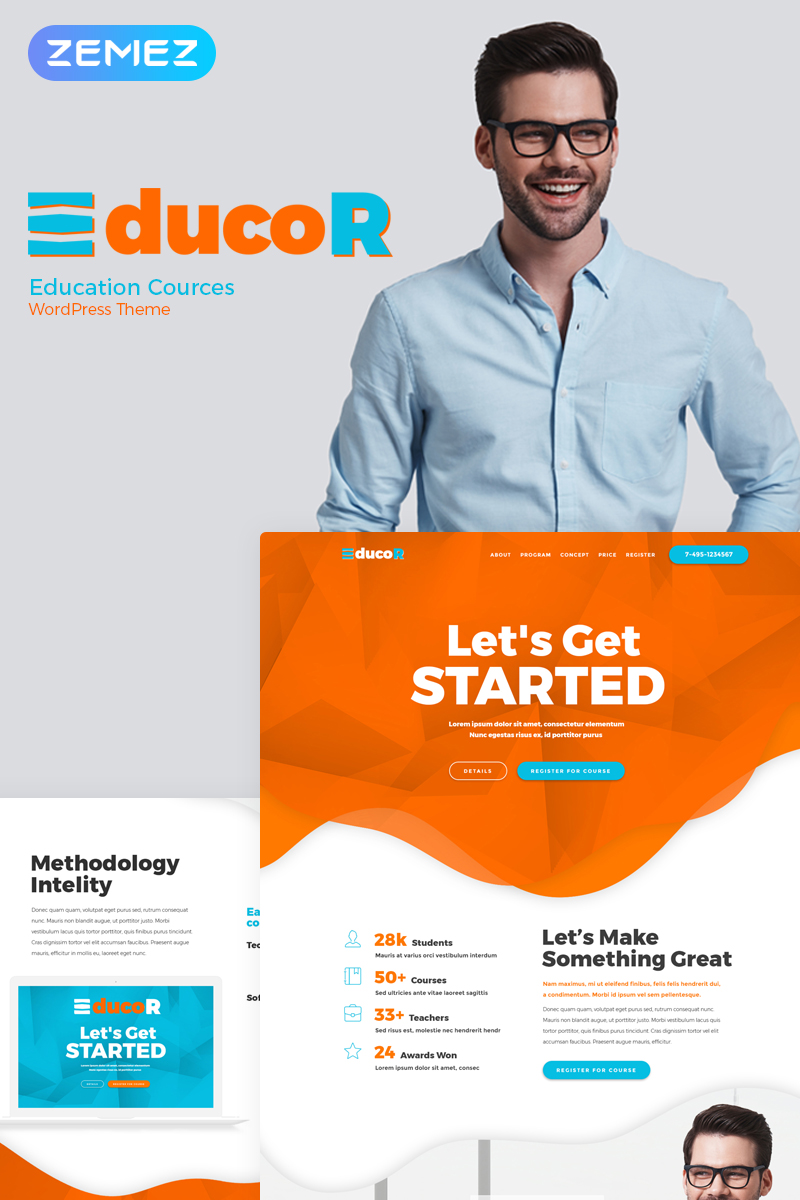 Responsive Educor - Education Courses Elementor Wordpress #73268