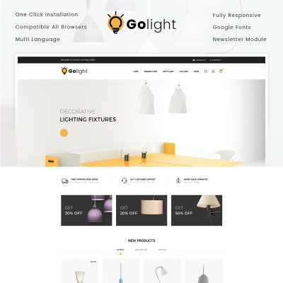 Responsive GoLight - Fancy Light Store Opencart Şablon #73285