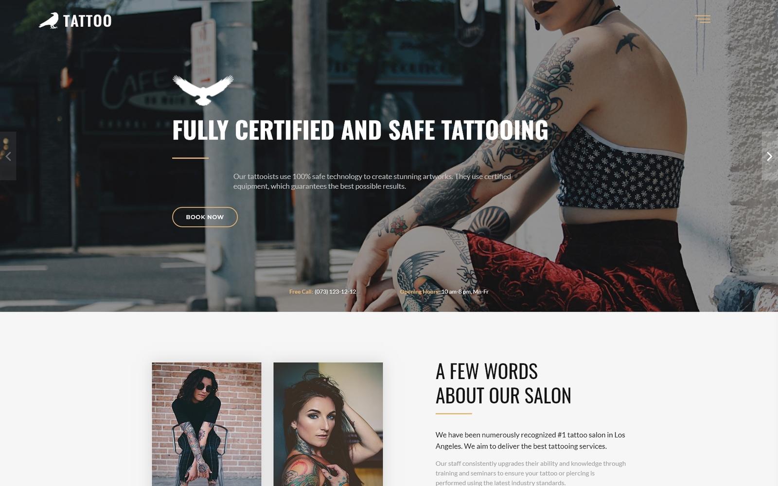 Reszponzív Tattoo - Beauty Salon HTML5 Nyítóoldal sablon 73270