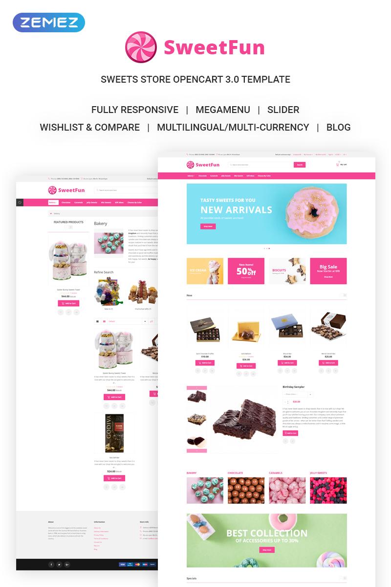 """SweetFun - Minimalistic Sweets Online Store"" Responsive OpenCart Template №73213"