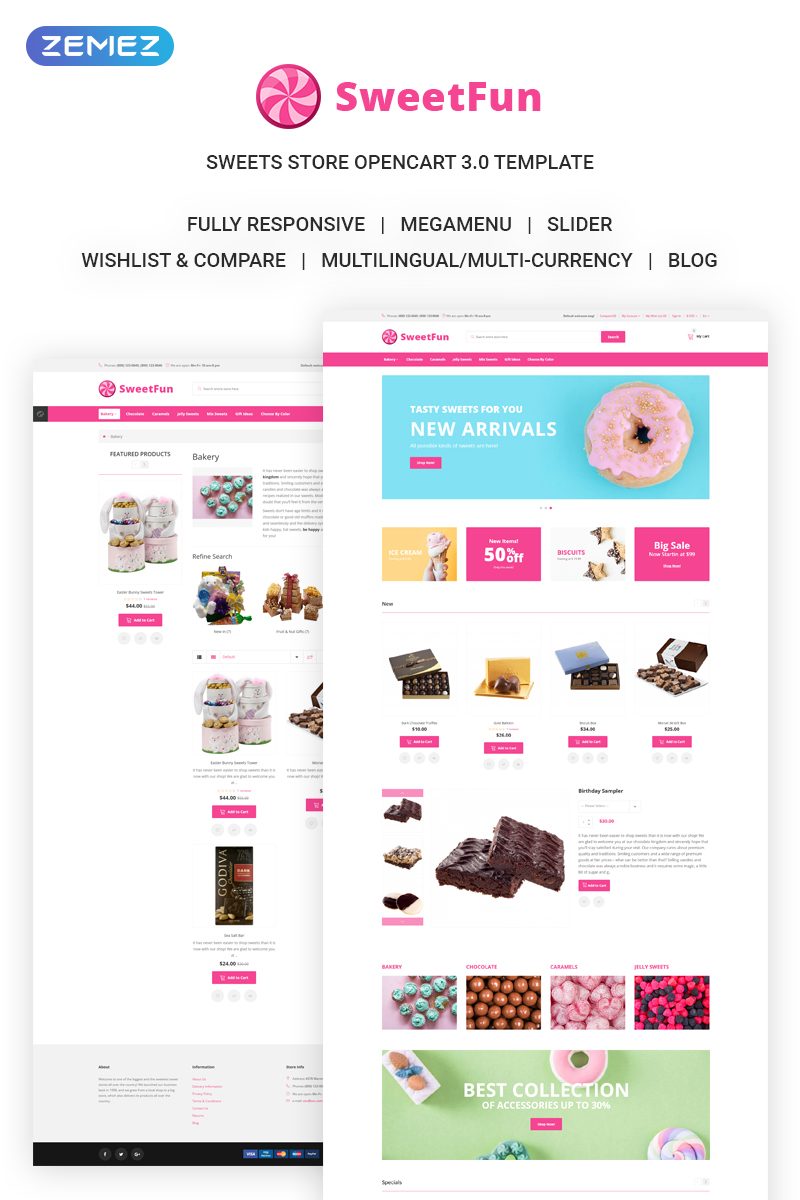 """SweetFun - Minimalistic Sweets Online Store"" 响应式OpenCart模板 #73213"