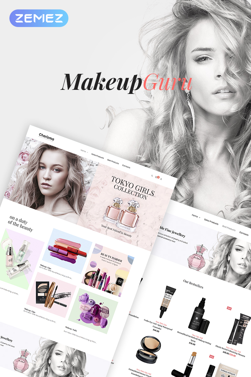 "WooCommerce Theme namens ""MakeupGuru - Cosmetic Store Elementor"" #73212"