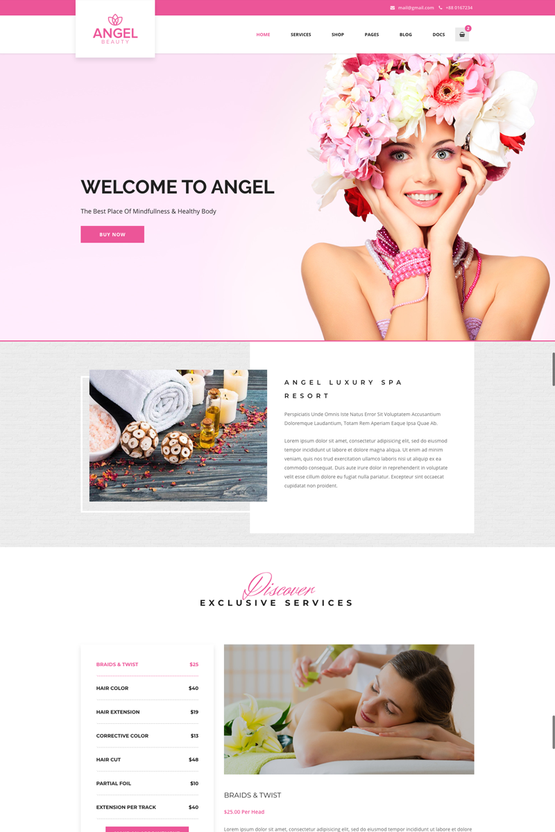 """Angel - Beauty Salon Store WooCommerce Elementor"" 响应式WordPress模板 #73332"