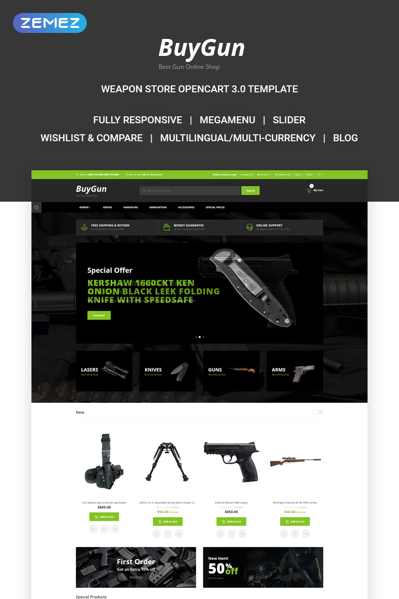 """BuyGun - Weapons Store"" Responsive OpenCart Template №73396"