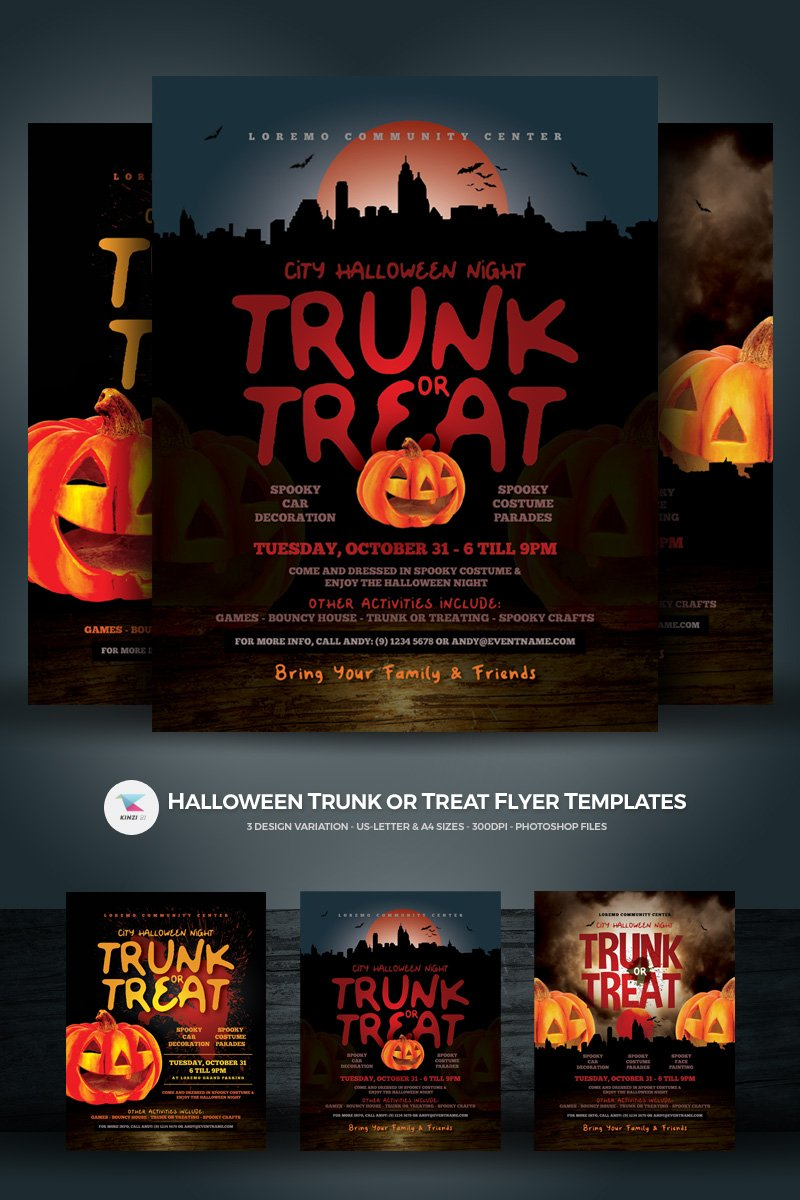 halloween trunk or treat flyer corporate identity template 73329