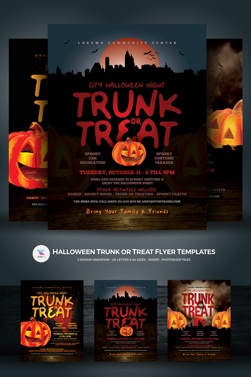 Halloween Trunk or Treat Flyer Corporate Identity Template - screenshot