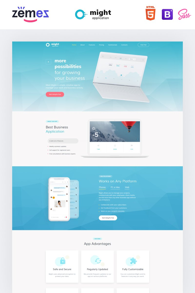 "Modello di Landing Page Responsive #73394 ""Might - Delicate Web Application HTML"""