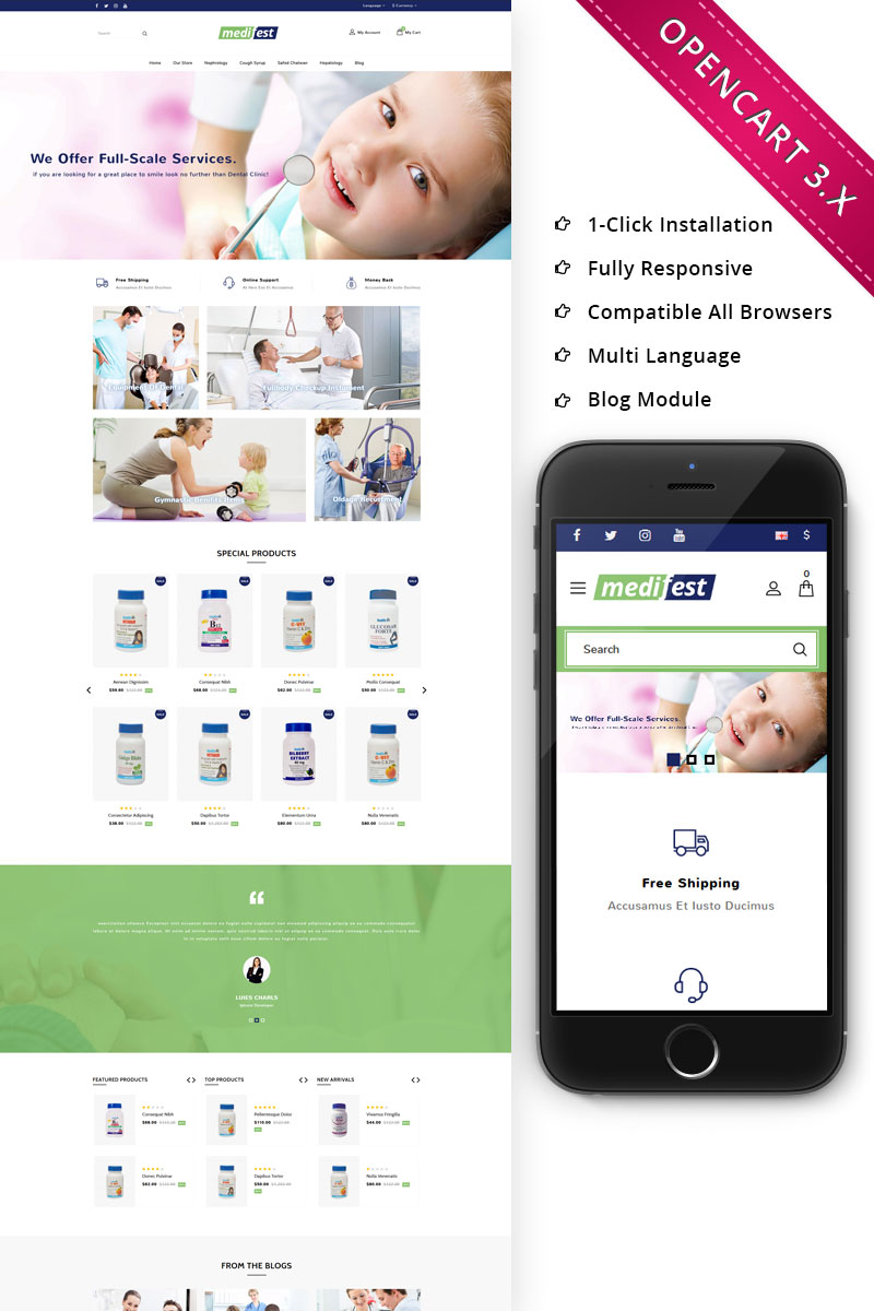 "OpenCart Vorlage namens ""Medifest - Medical Shop Responsive"" #73345"