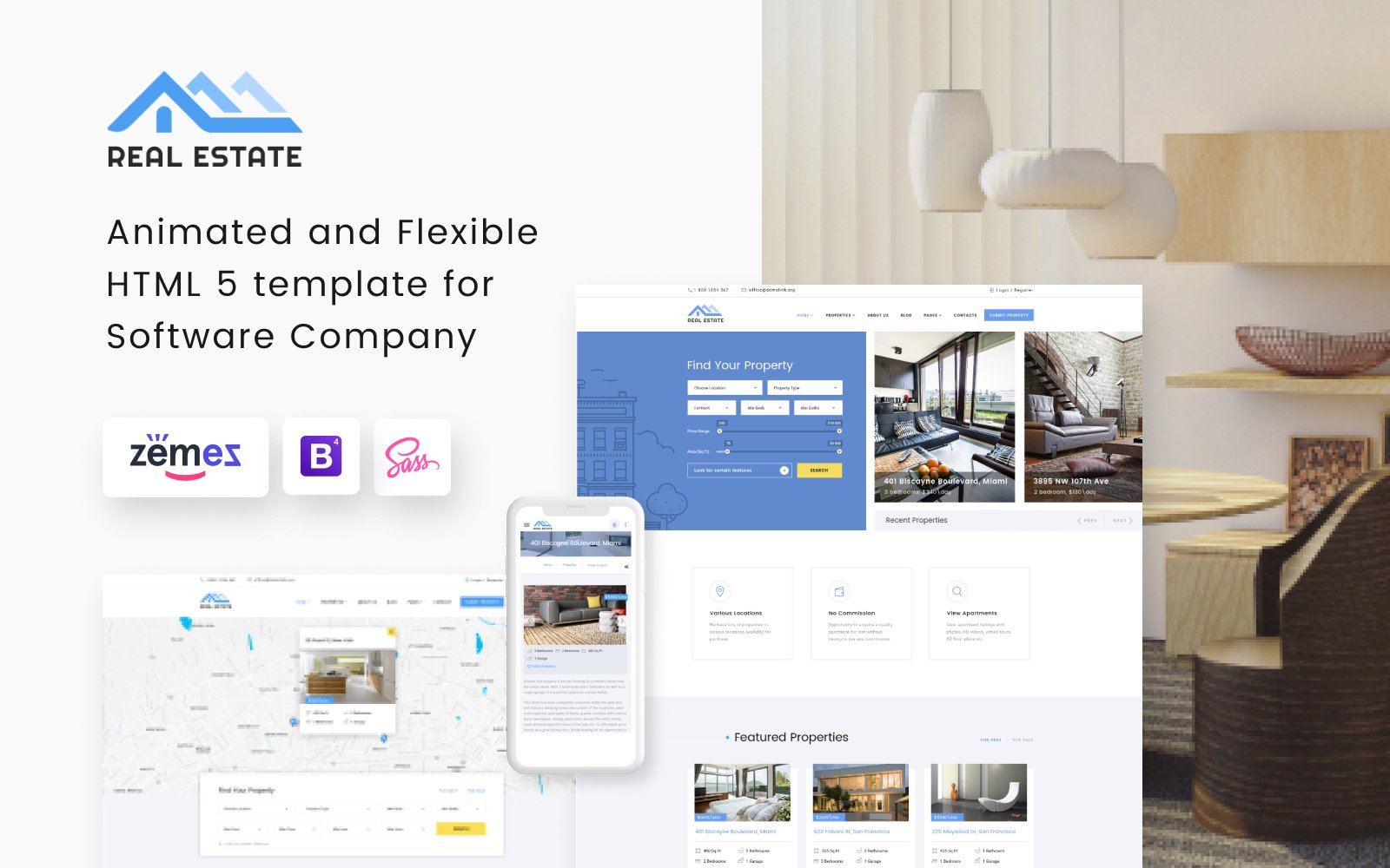 """Real Estate Multipurpose HTML5"" 响应式网页模板 #73337"