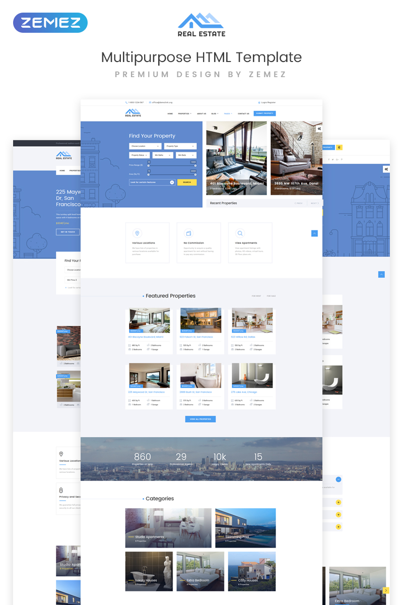 """Real Estate Multipurpose HTML5"" 响应式网页模板 #73337 - 截图"