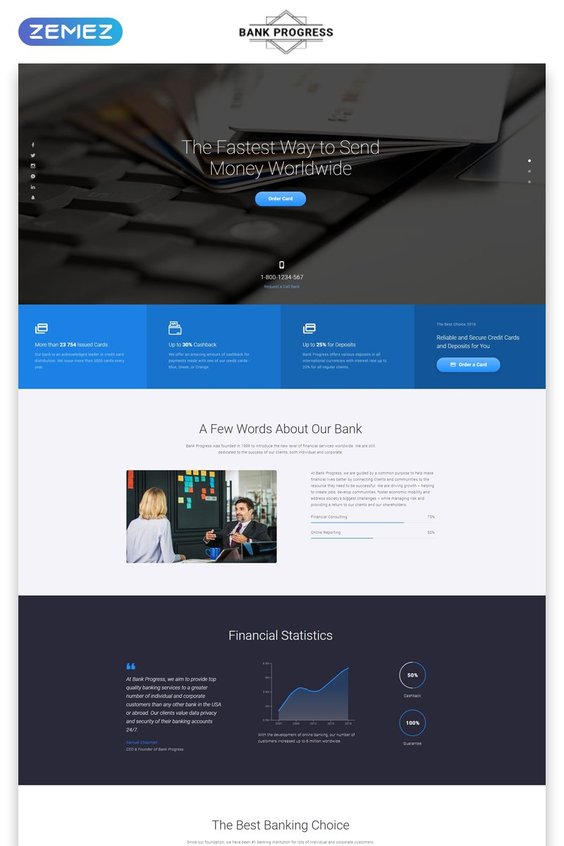 Responsivt Bank Progress - Solid Bank HTML Landing Page-mall #73338