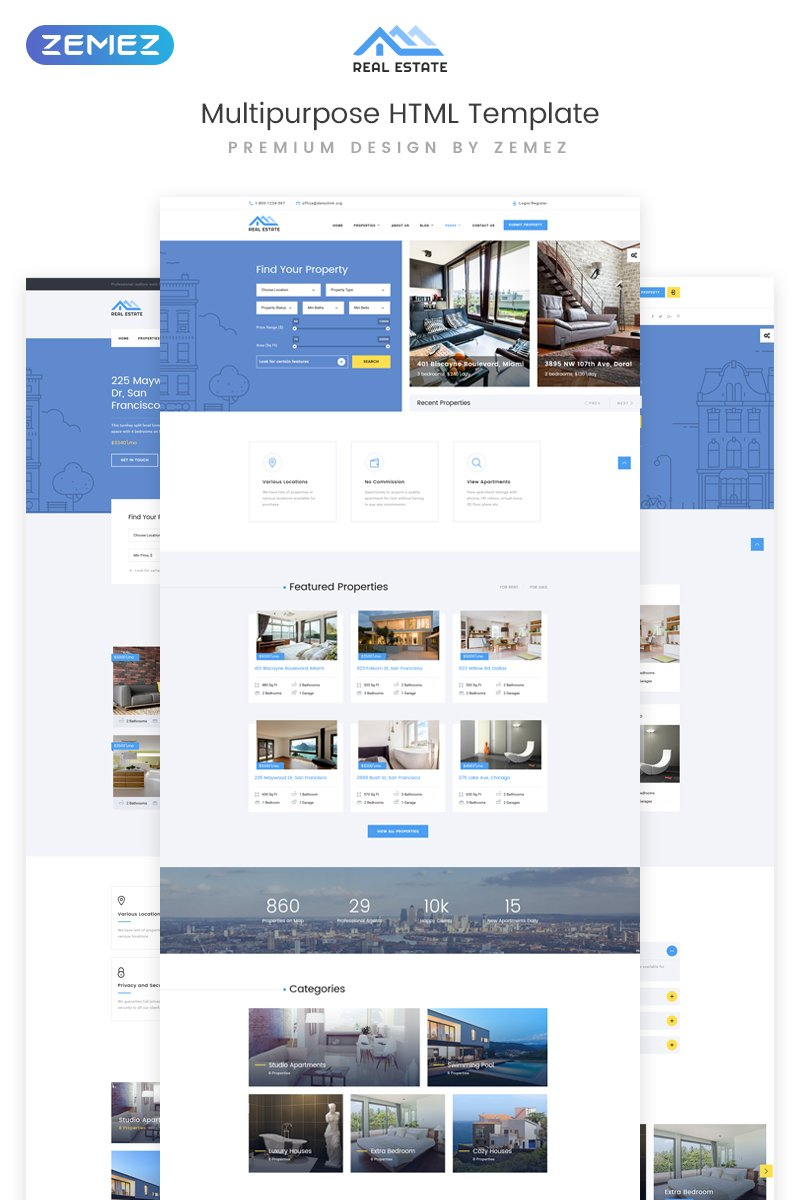 Responsivt Real Estate Multipurpose HTML5 Hemsidemall #73337