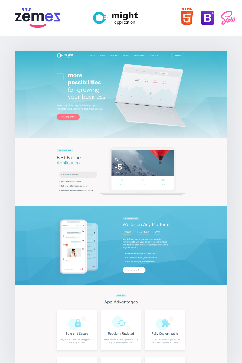 Responsywny szablon Landing Page Might - Delicate Web Application HTML #73394