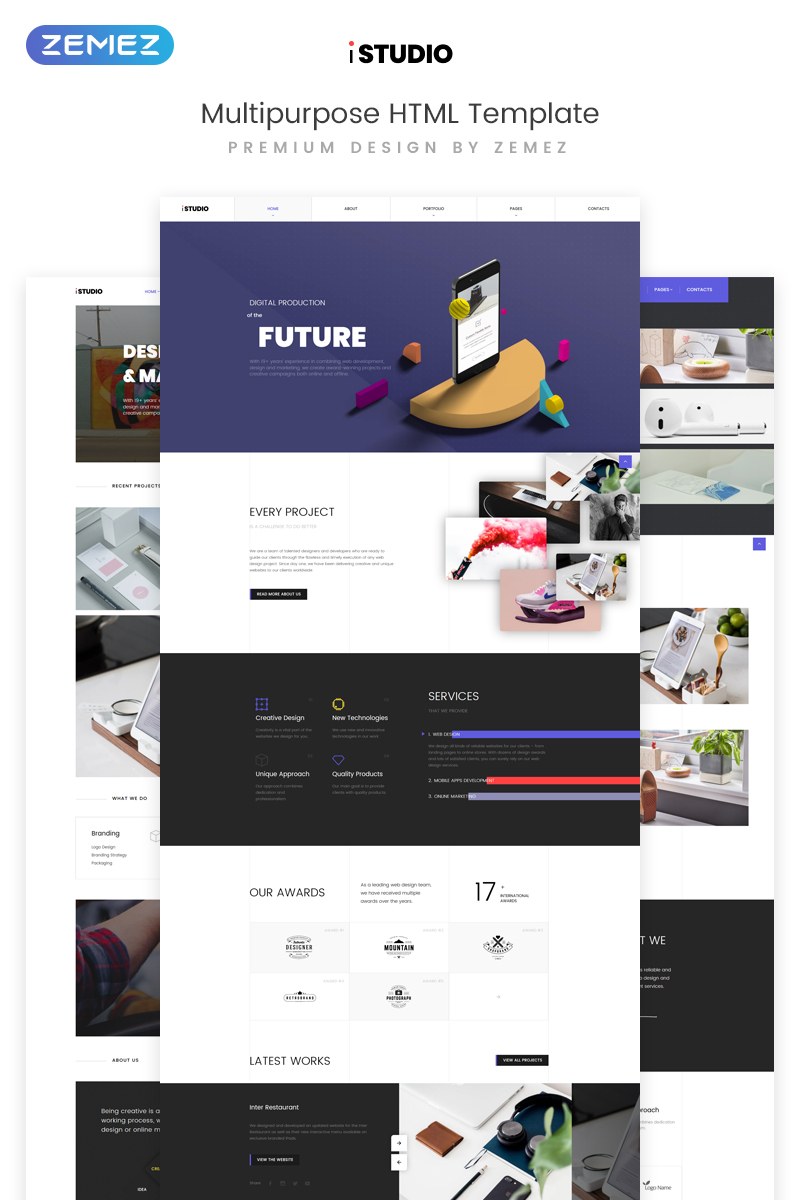Reszponzív iStudio - Digital Production Multipurpose HTML Weboldal sablon 73395