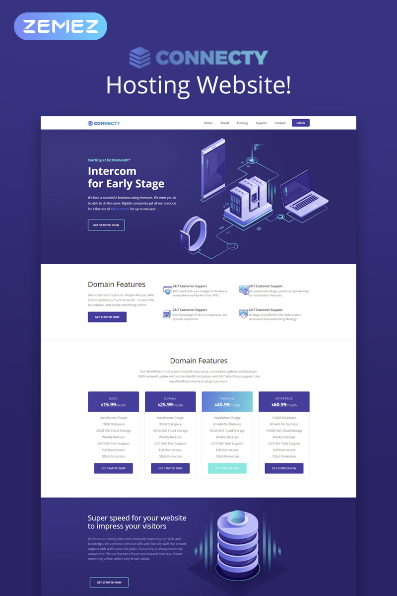"Template WordPress Responsive #73348 ""Connecty - Hosting Elementor"""