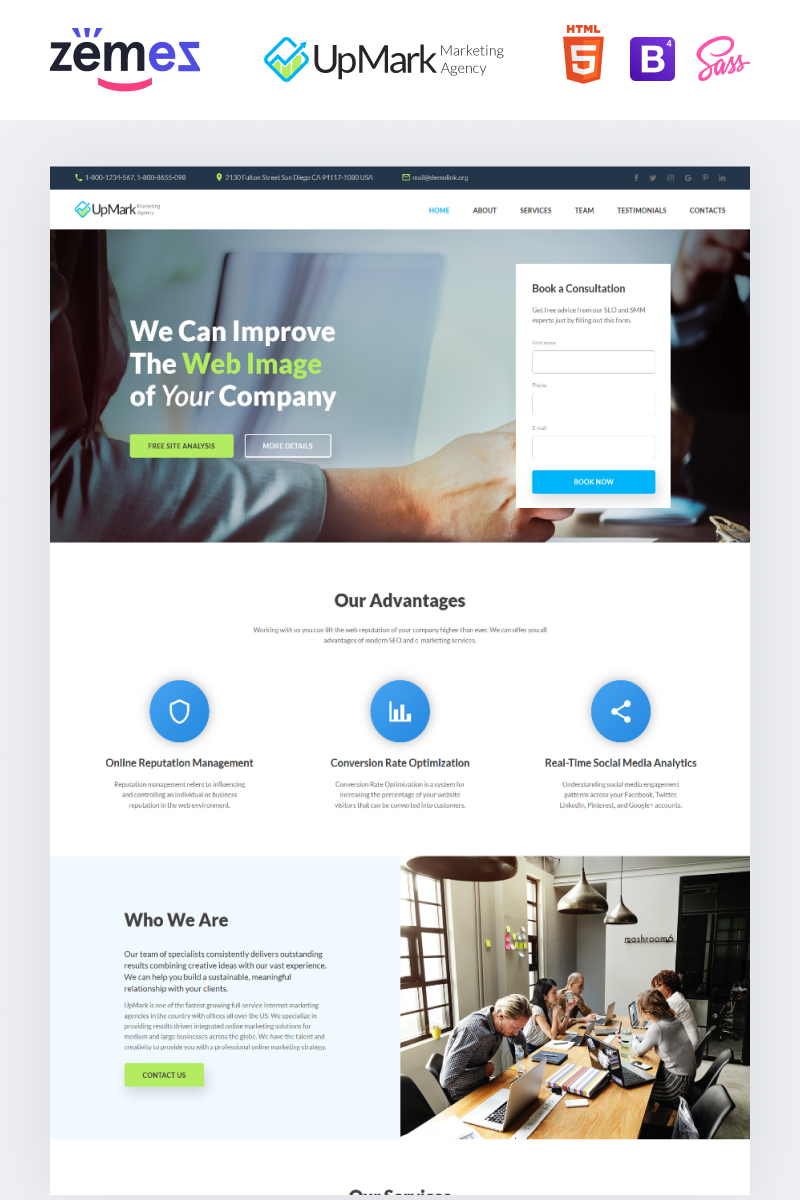 UpMark - Fancy Marketing Agency HTML Landing Page Template