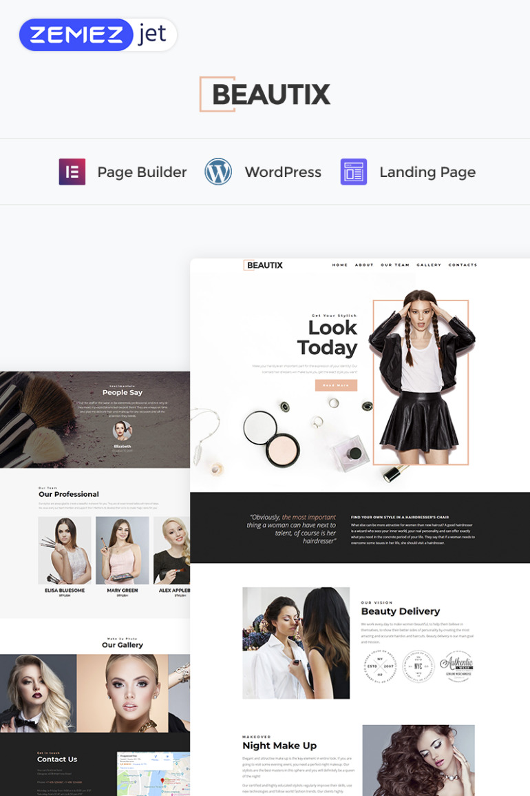 Beautix - Beauty Elementor WordPress Landing Page Template