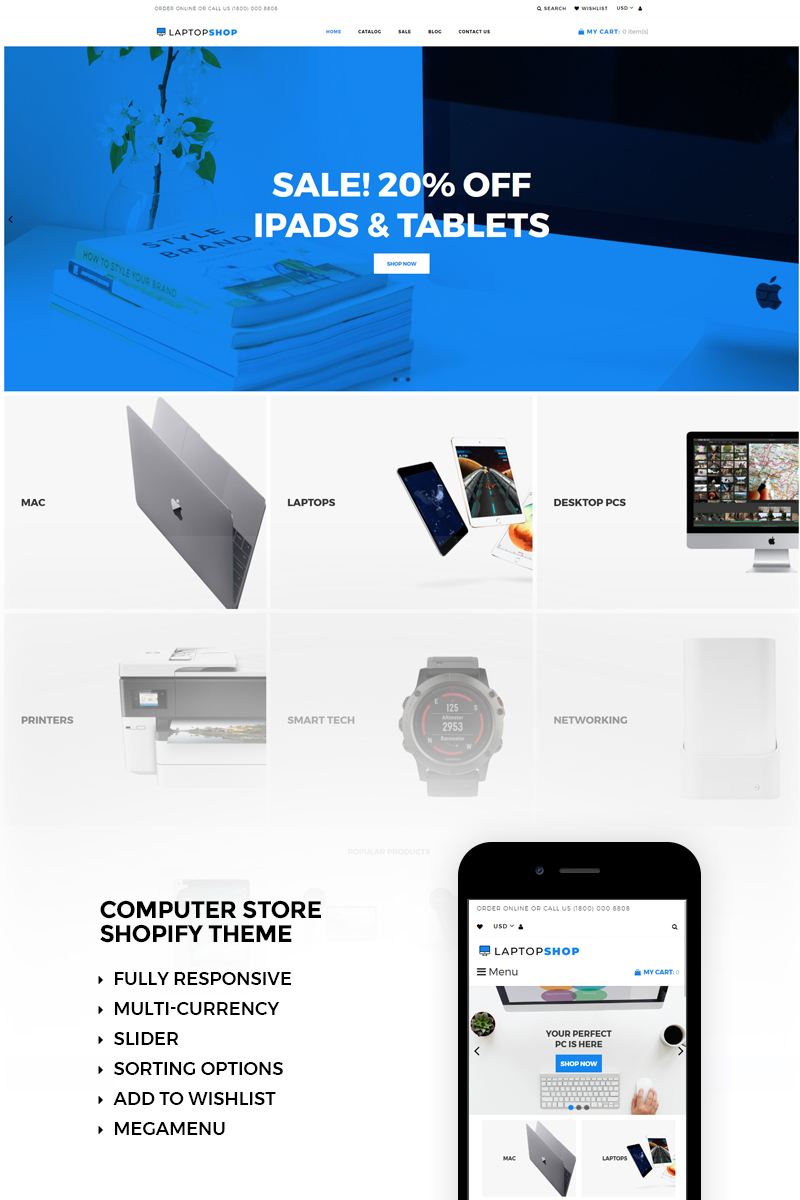 Website Design Template 73466 - ecommerce electonics gadgets shop shopify