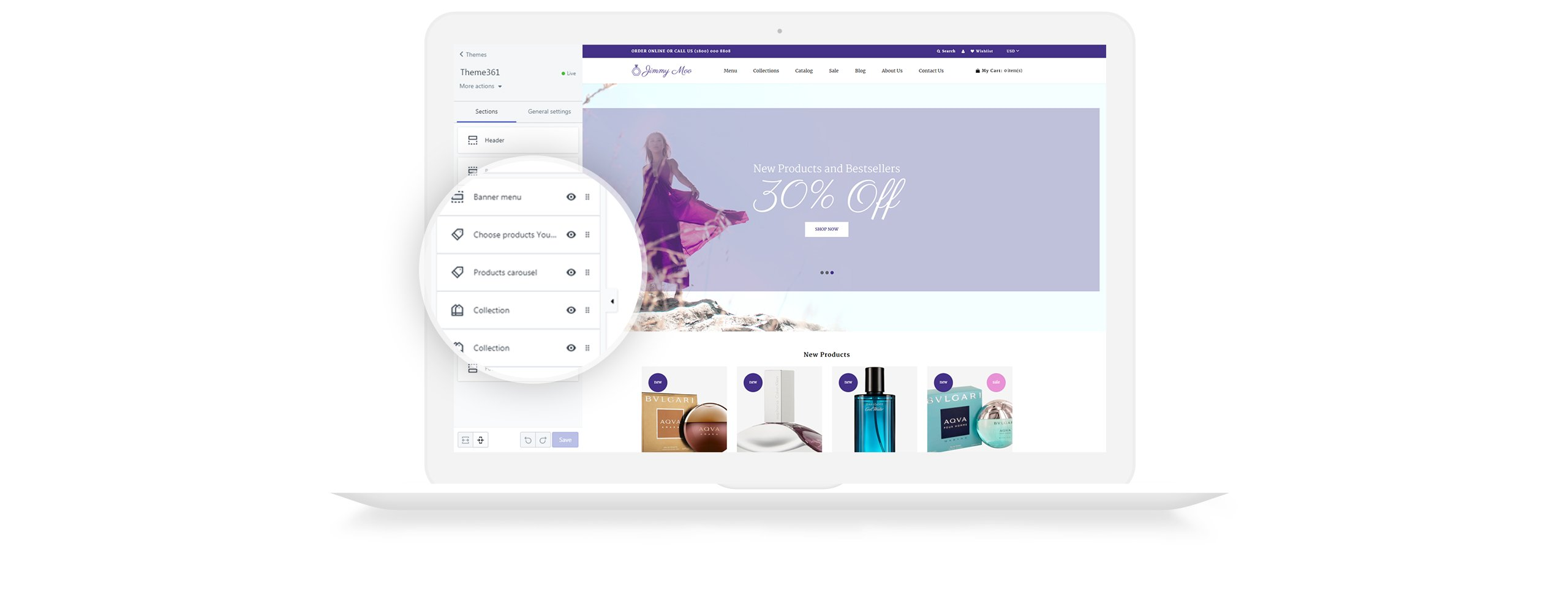 Website Design Template 73469 - ecommerce parfums products shop shopify