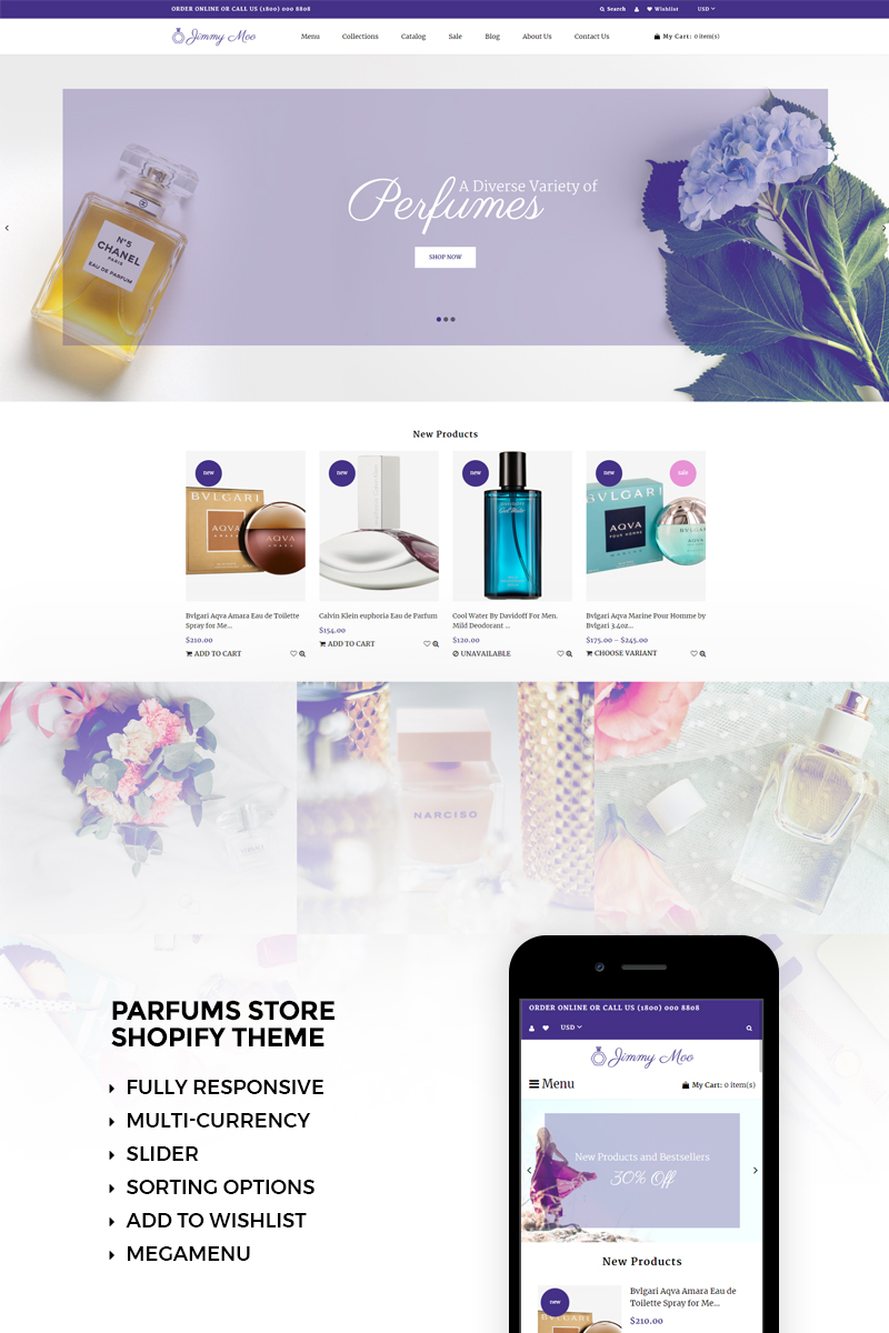 Website Design Template 73469 - cosmetics ecommerce parfums products shop shopify