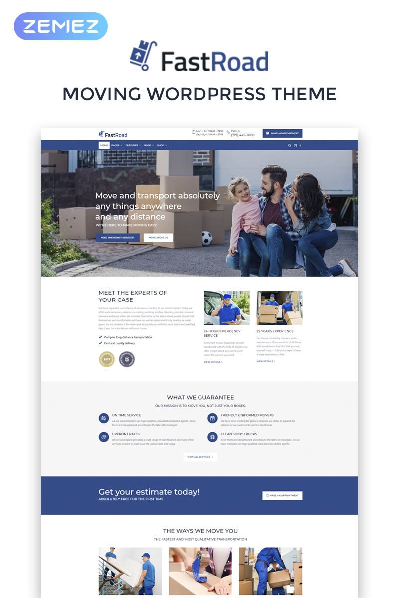 FastRoad - Moving Company Responsive Elementor WordPress Theme