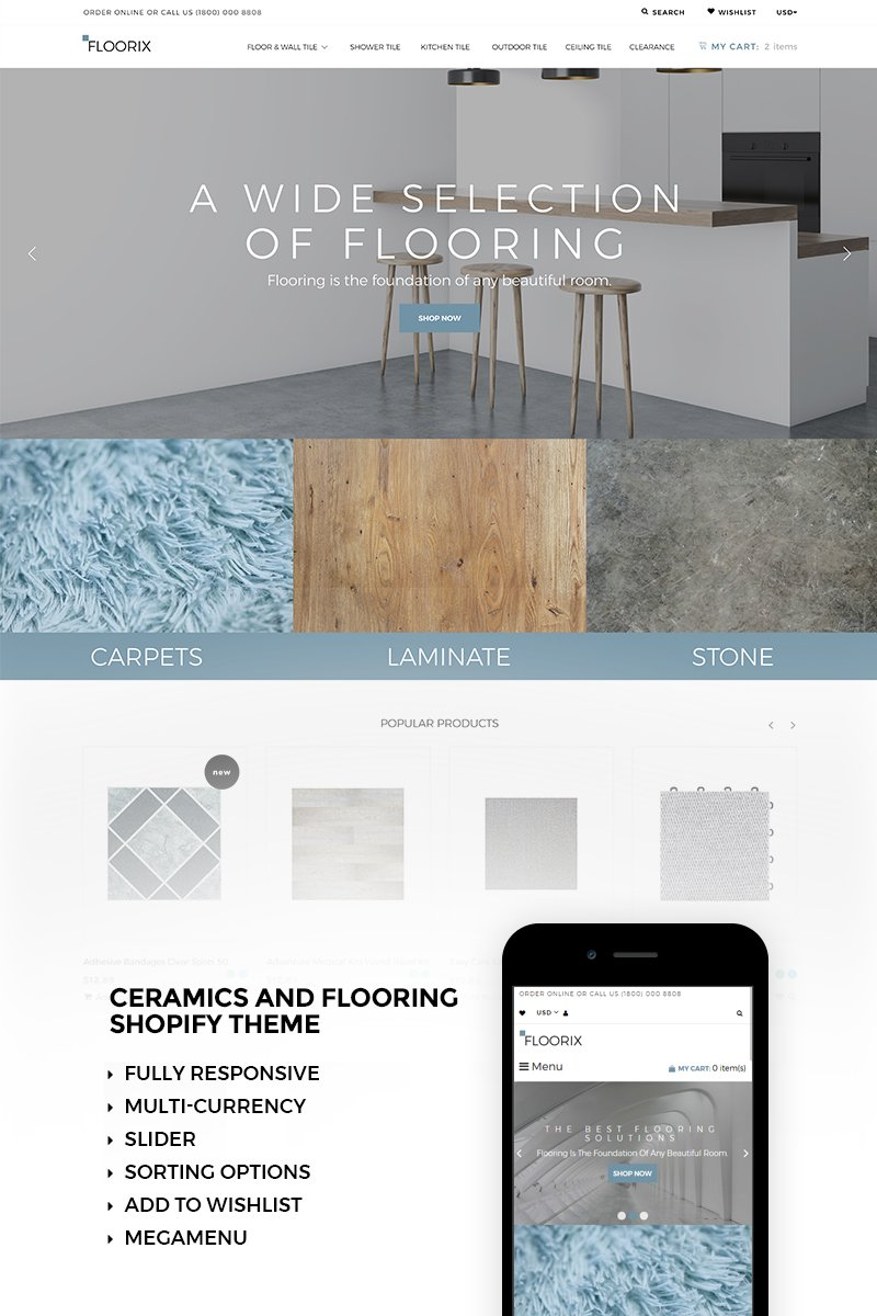 """Floorix - Flooring Solutions"" Responsive Shopify Thema №73419 - screenshot"