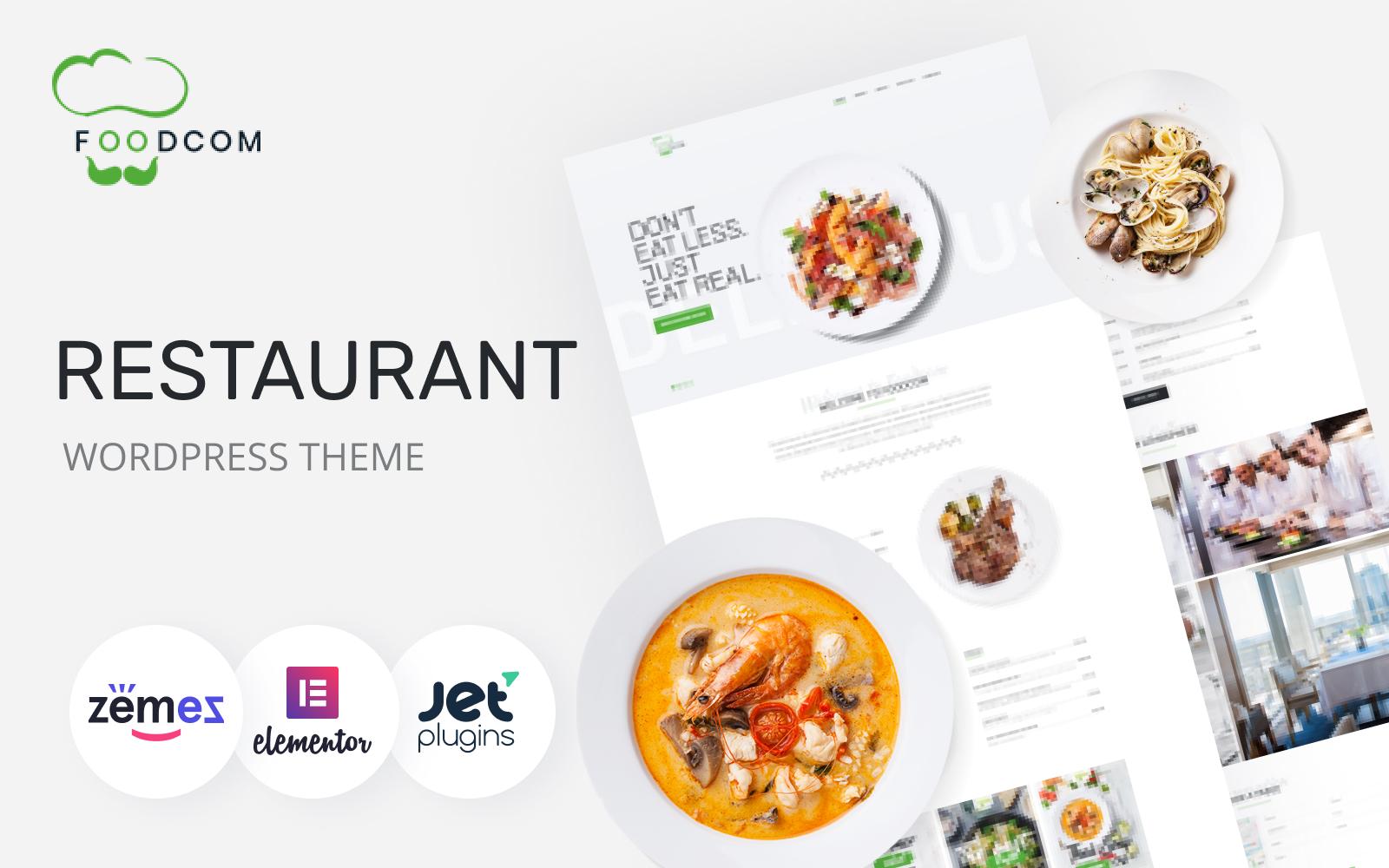 """Foodcom - Restaurant Elementor"" Responsive WordPress thema №73453"