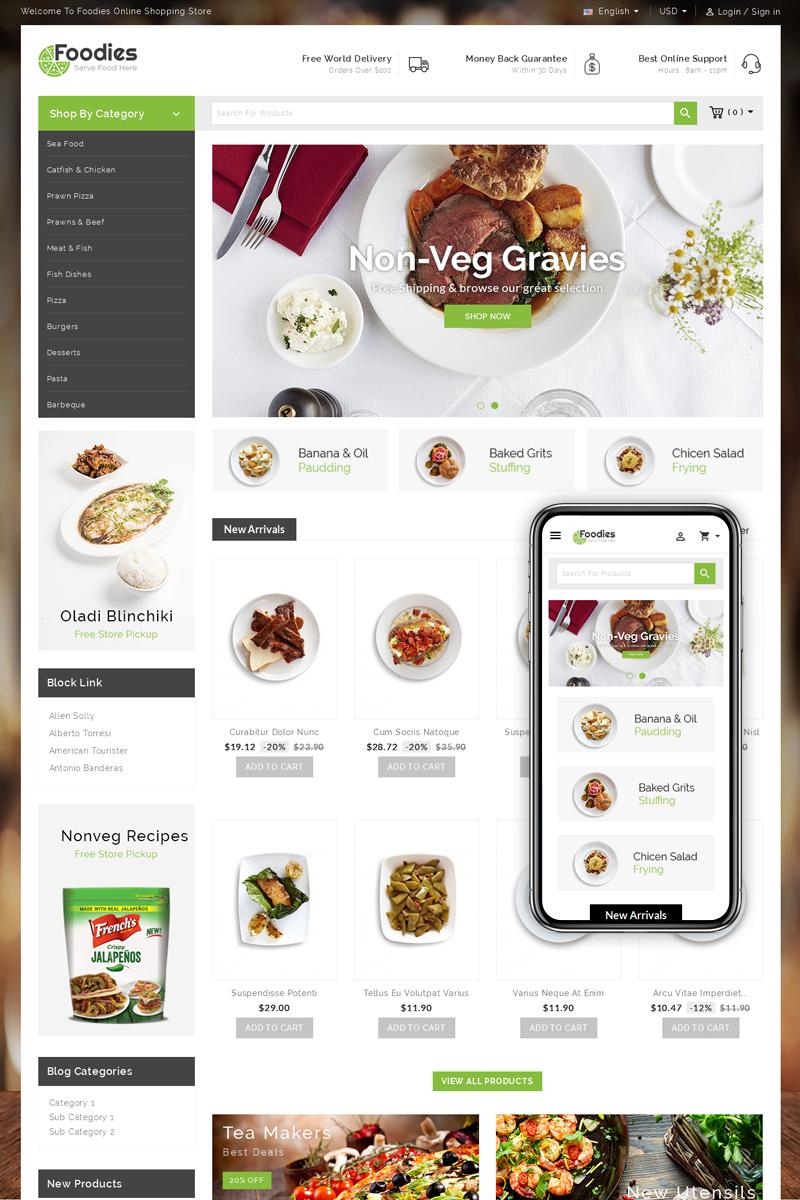 """Foodies - Restaurant Store"" - PrestaShop шаблон №73445"