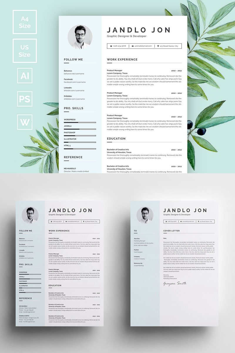 Jandlo Jon Modern Clean Resume Template 73414