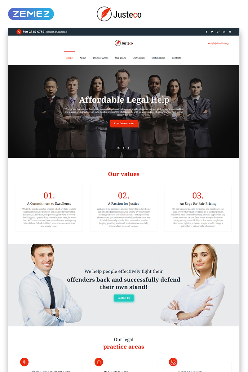 """Landing Page Template namens """"Justeco - Fancy Law Firm HTML"""" #73451"""