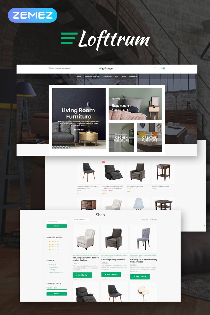 """Lofttrum - Furniture Online Shop Elementor"" thème WooCommerce adaptatif #73447"