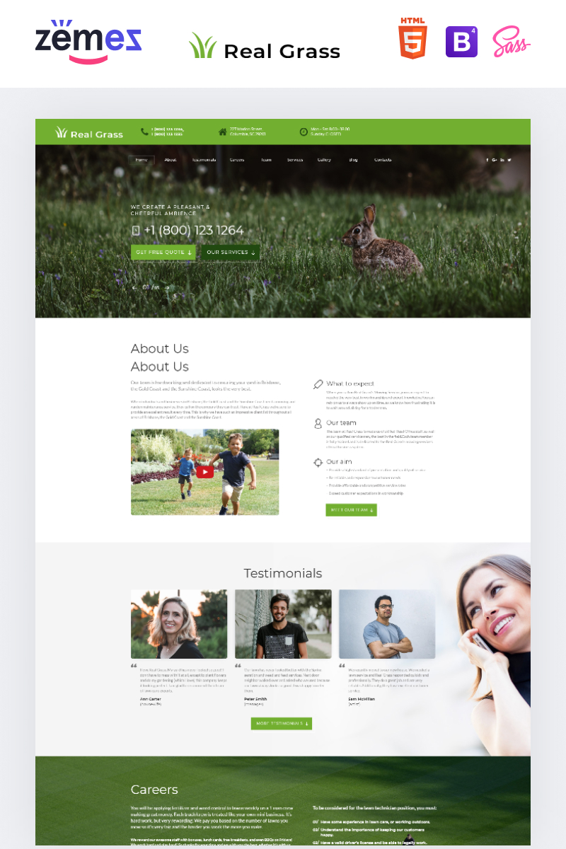 "Modello di Landing Page Responsive #73436 ""Real Grass - Garden Maintenance HTML"""