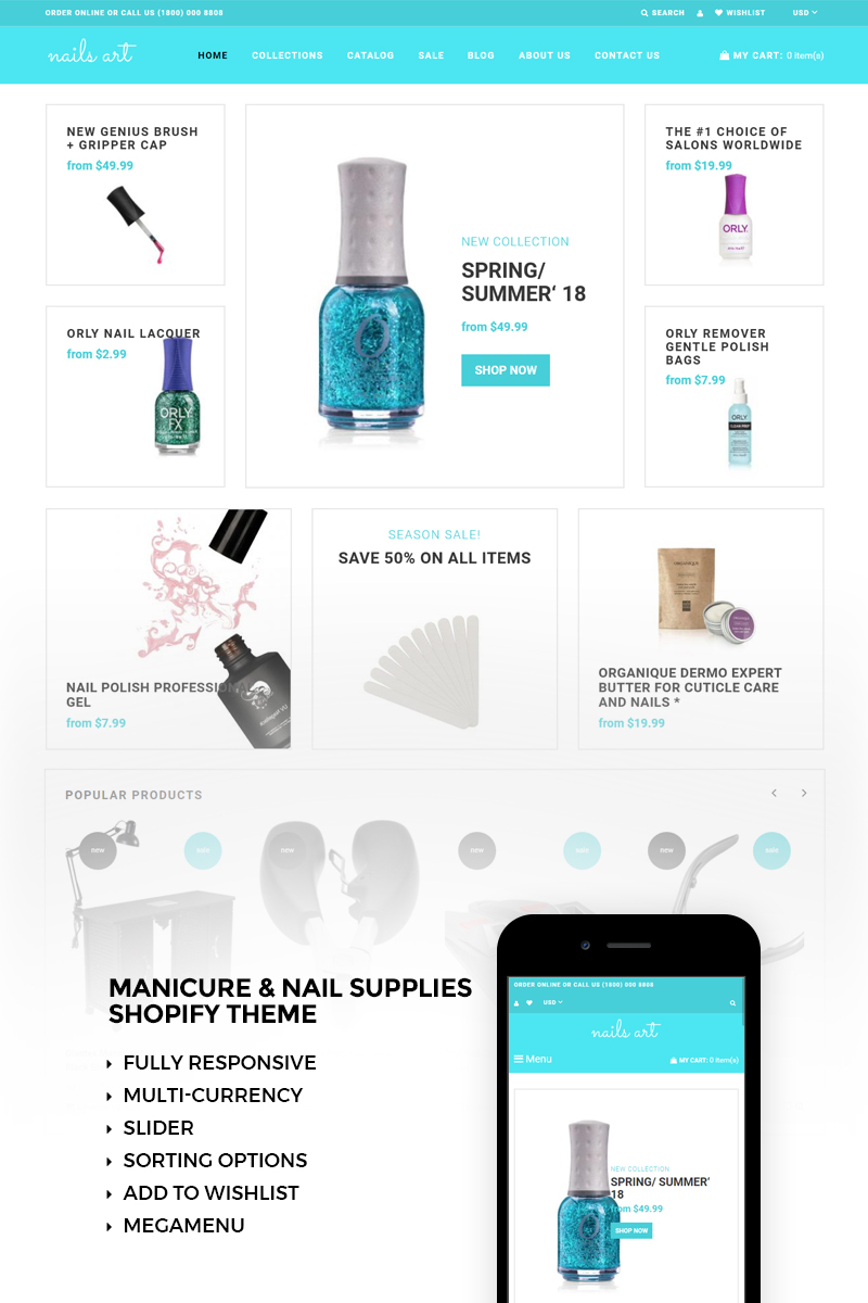 """""""Nails Art - Simple Nails Beauty Online Store"""" 响应式Shopify模板 #73424 - 截图"""