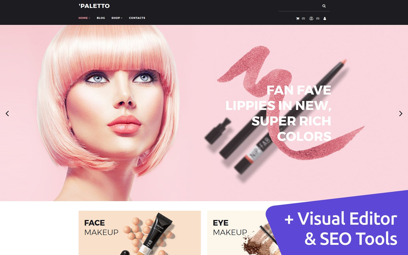 """""""Paletto - Cosmetic Store"""" Responsive MotoCMS Ecommercie Template №73423"""