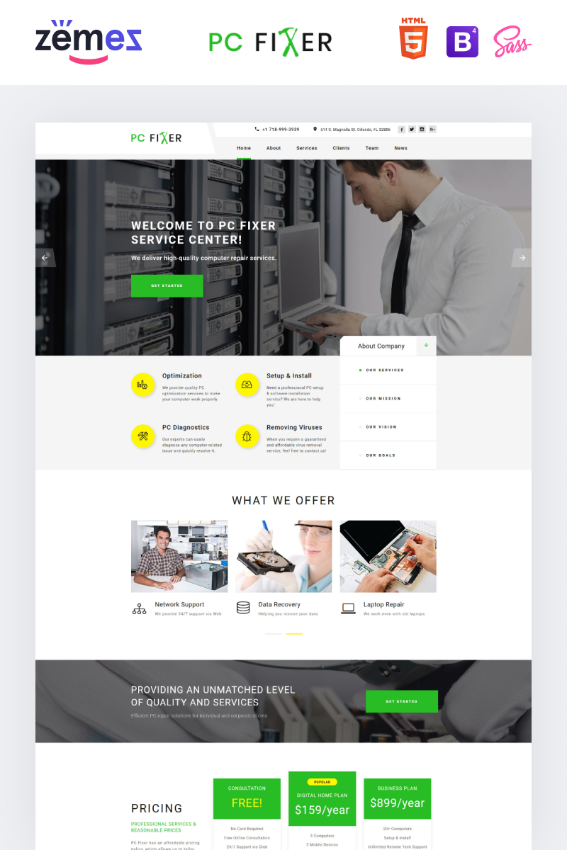 """PC Fixer - Computer Repair Services HTML"" modèle  de page d'atterrissage adaptatif #73434"