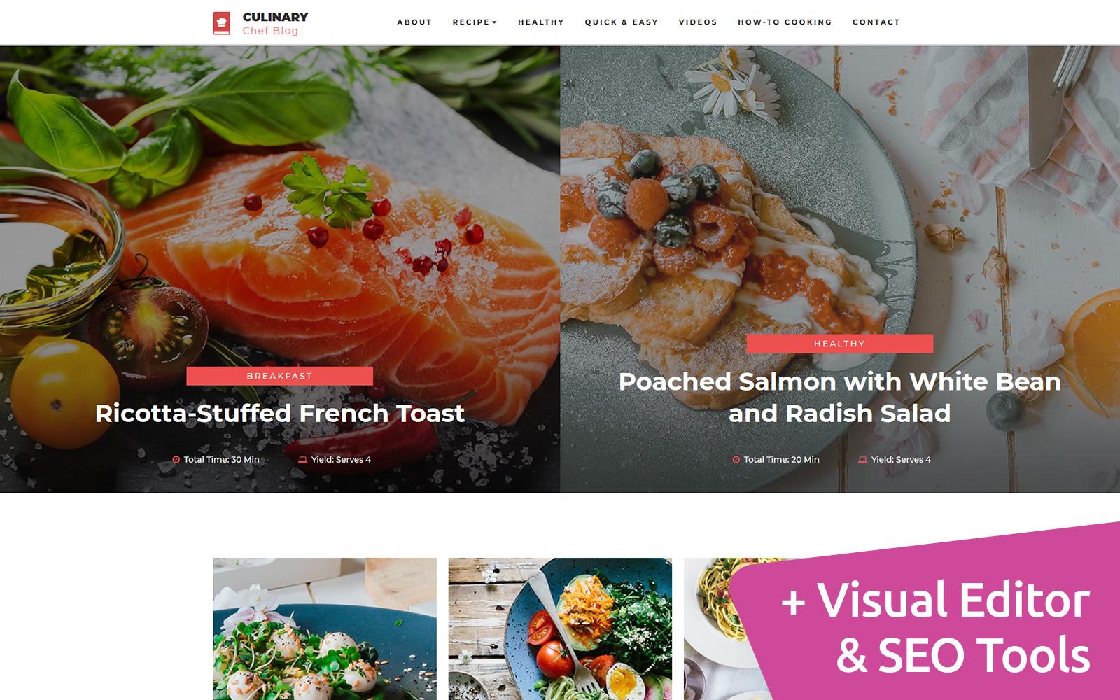 "Plantilla Moto CMS 3 ""Culinary - Recipe"" #73444"